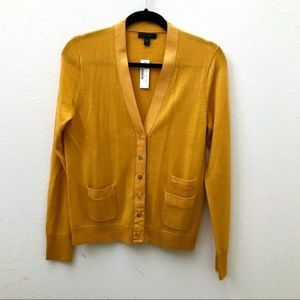 NEW JCREW yellow gold mustard grosgrain cardigan